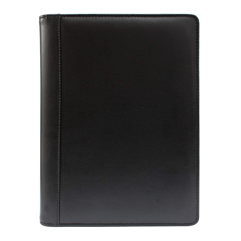 color marr/ón tama/ño A5, piel sint/ética, con calculadora, carpeta con anillas, p/áginas con forro rellenable KXF-Carpeta ejecutiva con cremallera