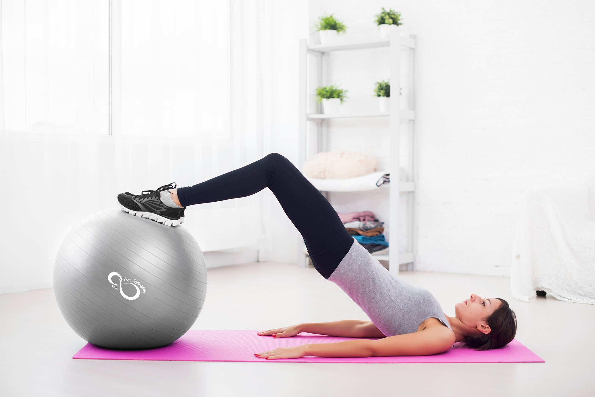 Exercise Ball -Professional Grade Exercise Equipment Anti Burst Tested with Hand Pump- Supports 2200lbs- Includes Workout Guide Access- 55cm/65cm/75cm/85cm Balance Balls (Light Silver, 65 cm) by Live Infinitely (Image #7)