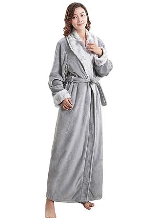 Bath Robe Long for Womens Plush Soft Warm Fleece Bathrobes Sleepwear ...