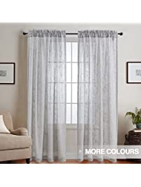 Linen Look Sheer Door Window Curtains/ Drapes / Treatment For Bedroom / Living  Room, Part 80