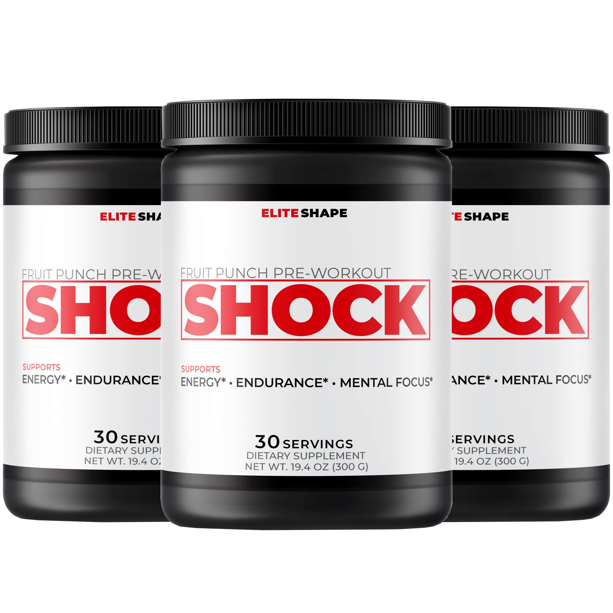Shock Pre-Workout by Elite Shape | Nitric Oxide Supplement to Boost Energy and Endurance | Increase Blood Flow and Decrease Recovery Time | 30 Servings (3 Pack, Fruit Punch)