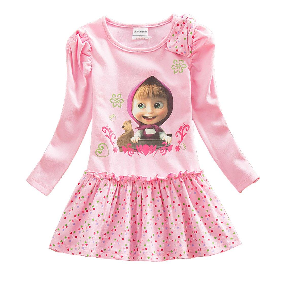 LEMONBABY Girls Masha Bear Long Sleeve Skirt Casual Dress Dot Printed
