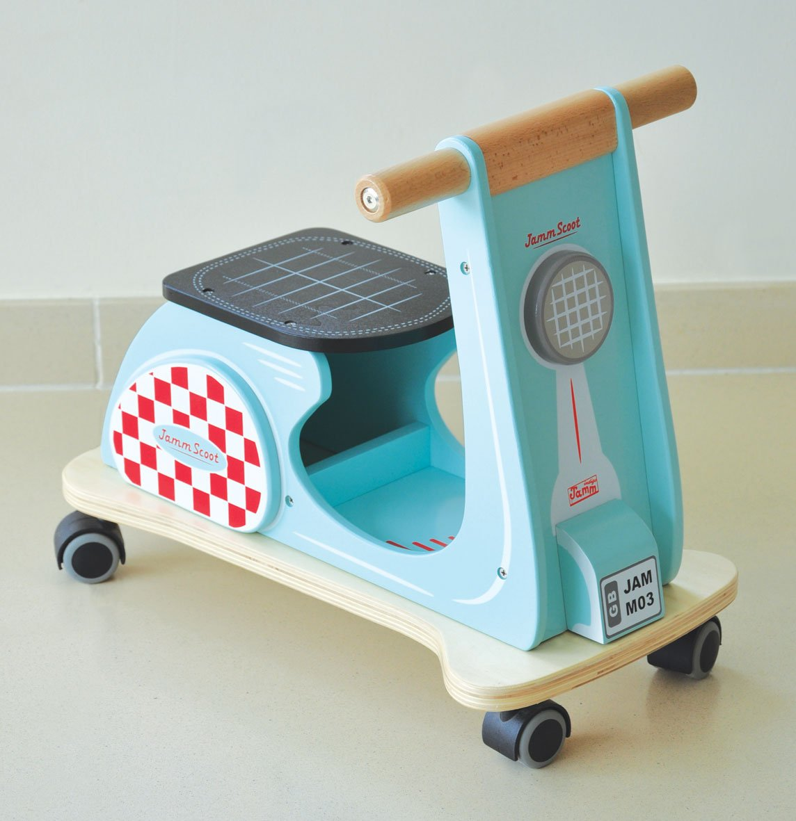 Indigo Jamm Wooden Jamm Scoot, Toy Ride-On Scooter with Retro Classic Design for Children Aged 12 Months Plus – Aqua Racer AIJ075