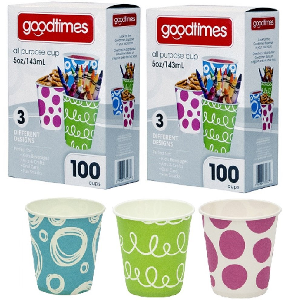 Goodtimes 5oz. All-Purpose Bathroom/Kitchen Paper Cold Cups,100ct-Assorted Designs (2)