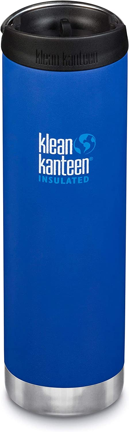 Klean Kanteen TKWide Stainless Steel Double Wall Insulated Water Bottle with TKWide Café Cap, 20-Ounce, Deep Surf