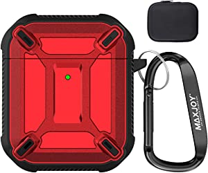 Maxjoy Compatible Airpods Case Cover, Airpods Protective Case Armor TPU Shockproof Cover with Keychain Compatible with Apple Airpods 2 1 Charging Case (Front LED Visible), Red