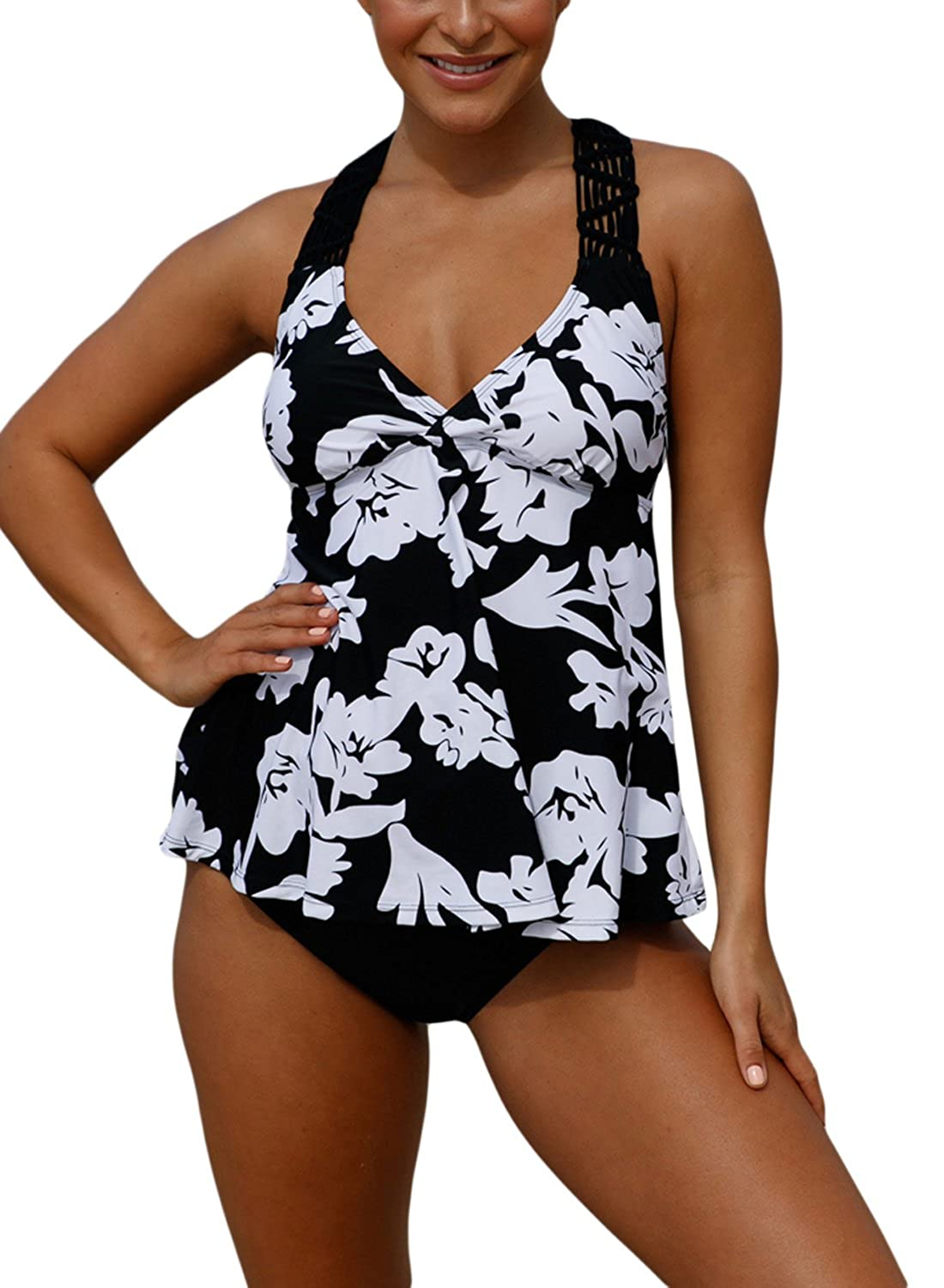 3eaa4c9abf5c6 Figure-Flattering Shirred Bandeau Swimdress with a Bottom Waist Length  Style Tankini, Tummy Control Lining, trendy Slim Silhouette