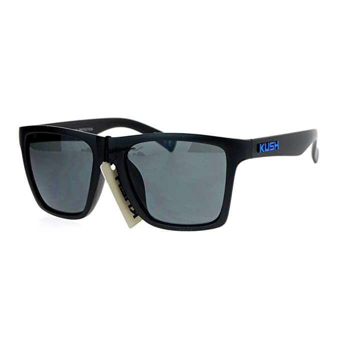 dc2b45fd9 KUSH Sunglasses Simple Classic Square Frame Unisex Shades Matte Black Blue:  Amazon.in: Clothing & Accessories