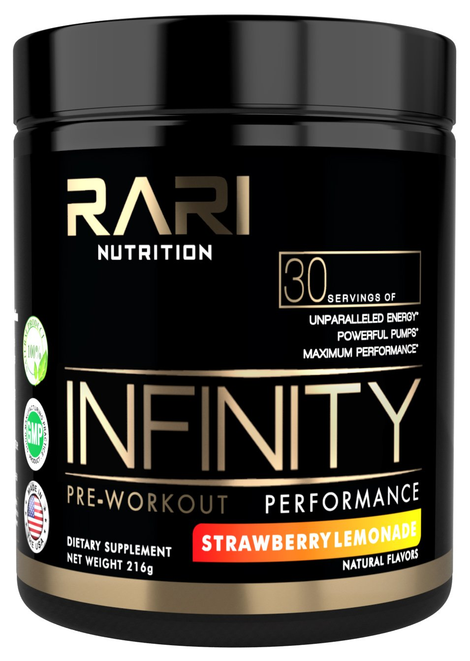 RARI Nutrition - INFINITY - 100% Natural Pre Workout Powder for Energy, Focus, and Performance – Vegan and Keto Friendly - No Creatine – No Artificial Ingredients - 30 Servings (Strawberry Lemonade)