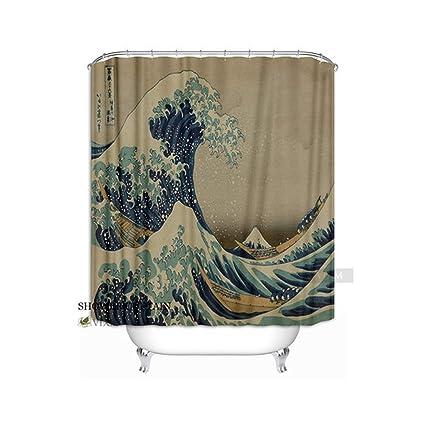 0ab2a2ef6fe3c Amazon.com: Shower Curtains Norenn Tapestry Ukiyoe Hokusai Fabric ...