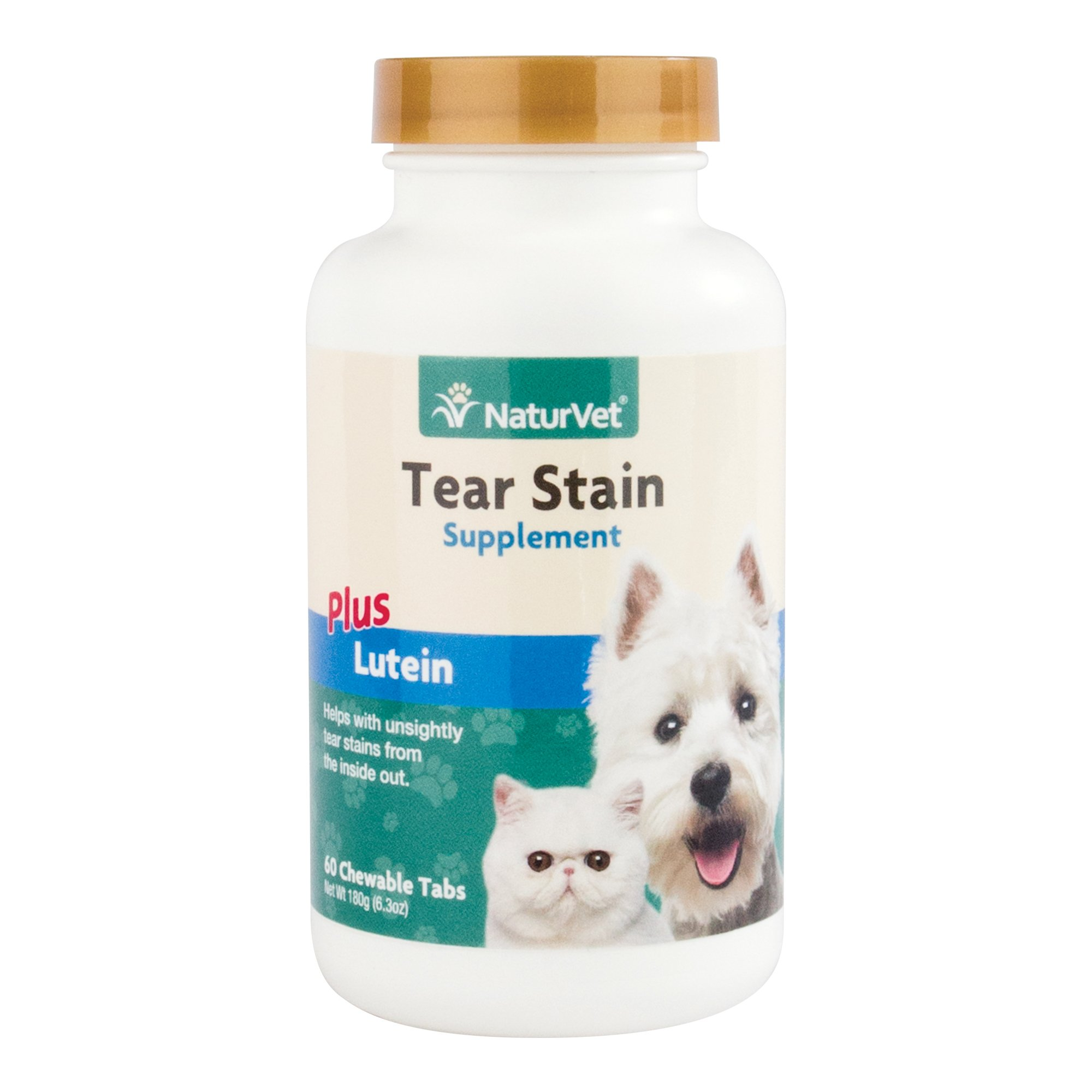 NaturVet Tear Stain Supplement Plus Lutein for Dogs and Cats, 60 ct Chewable Tablets, Made in USA
