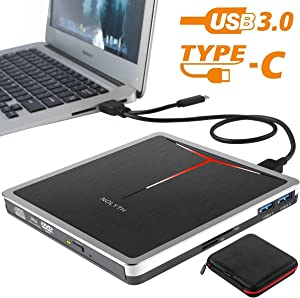 External CD DVD Drive NOLYTH 5-in-1 USB CD DVD Burner Writer Player for Laptop Mac Desktop PC MacBook Pro Air Windows with Extra SD&TF Card Reader and USB 3.0 Hub