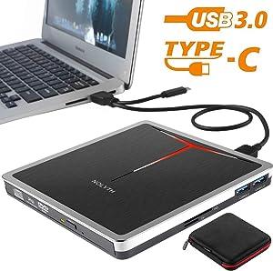 External CD DVD Drive NOLYTH 5-in-1 USB CD DVD Burner Writer Player for Laptop Mac Desktop PC MacBook Pro Air Windows with Extra SD&TF Card Reader and USB 3.0 Hub