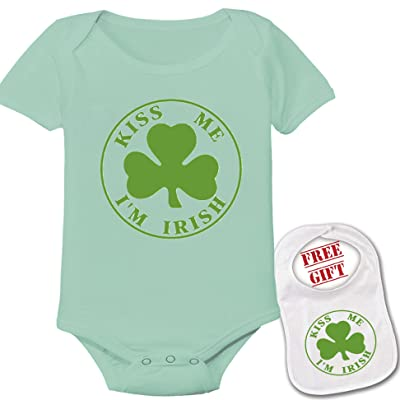 """ Kiss me I'm Irish ""Cute Custom boutique Baby bodysuit onesie & matching bib"