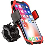 Bike Mount, Insten Bicycle Motorcycle MTB Bike Rack Handlebar Mount Phone Holder Cradle W/Secure Grip for iPhone X/XS/XS Max/XR/8 Plus/7 Plus/6S, Galaxy S9/S9+/S8/S8+/On5/S7,LG V10, Black/Red