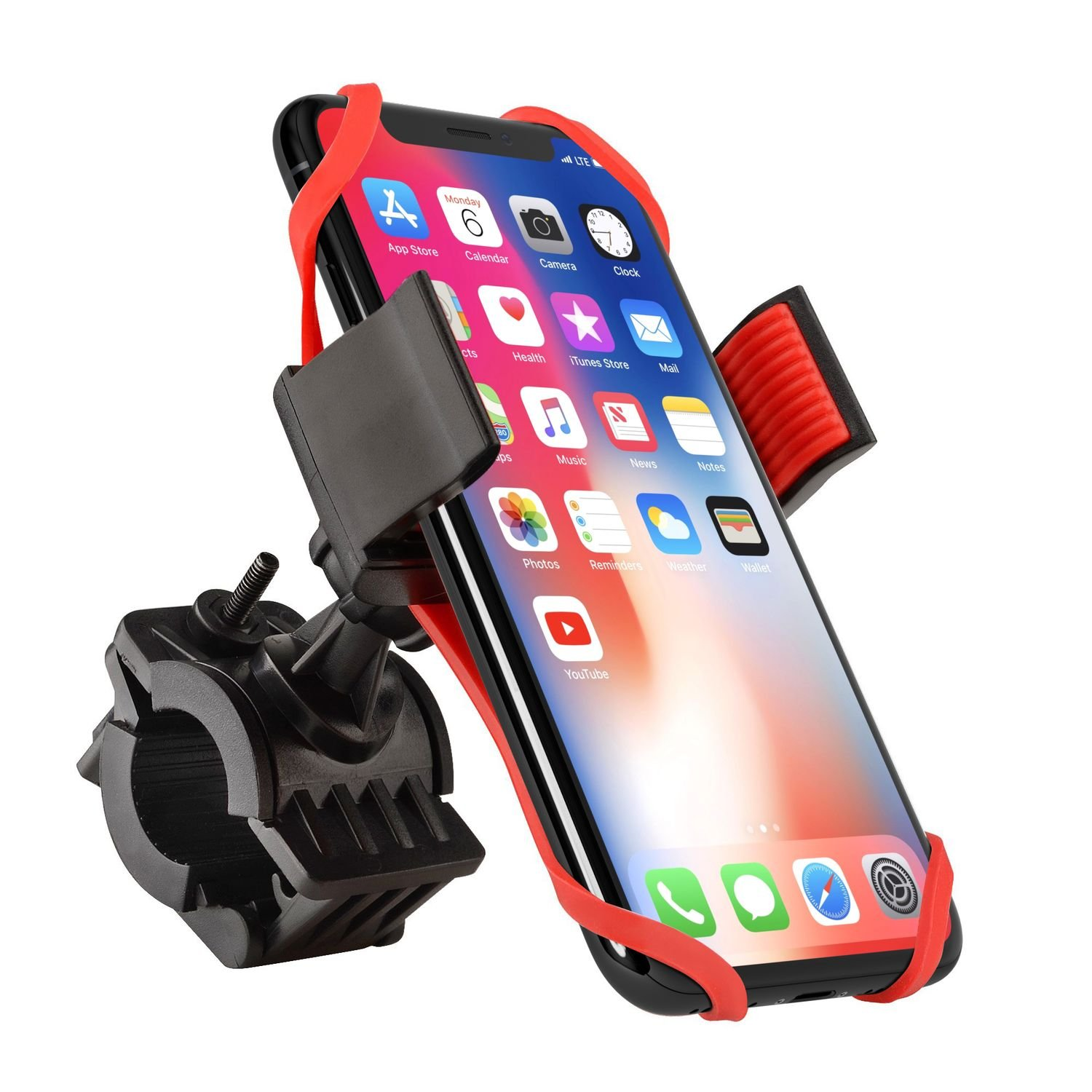 Bike Mount, Insten Bicycle Motorcycle MTB Bike Rack Handlebar Mount Phone Holder Cradle W/Secure Grip For iPhone X/XS /XS Max/XR/8 Plus/7 Plus/6S, Galaxy S9/S9+/S8/S8+/On5/S7 Edge/S7,LG V10, Black eForCity 2195264
