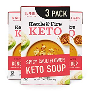 Keto Soup by Kettle and Fire, Spicy Cauliflower, Pack of 3, Paleo Friendly, Gluten Free, Collagen Soup on the Go, 8g of Protein, 16.9 fl oz