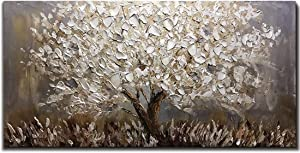 Boiee Art,24x48Inch Oil Hand Paintings Abstract Silver Tree 3D Hand Painted on Canvas Texture Palette Knife Paintings Landscape Artwork Modern Home Decor Wall Art Wood Inside Framed Hanging Wall Décor
