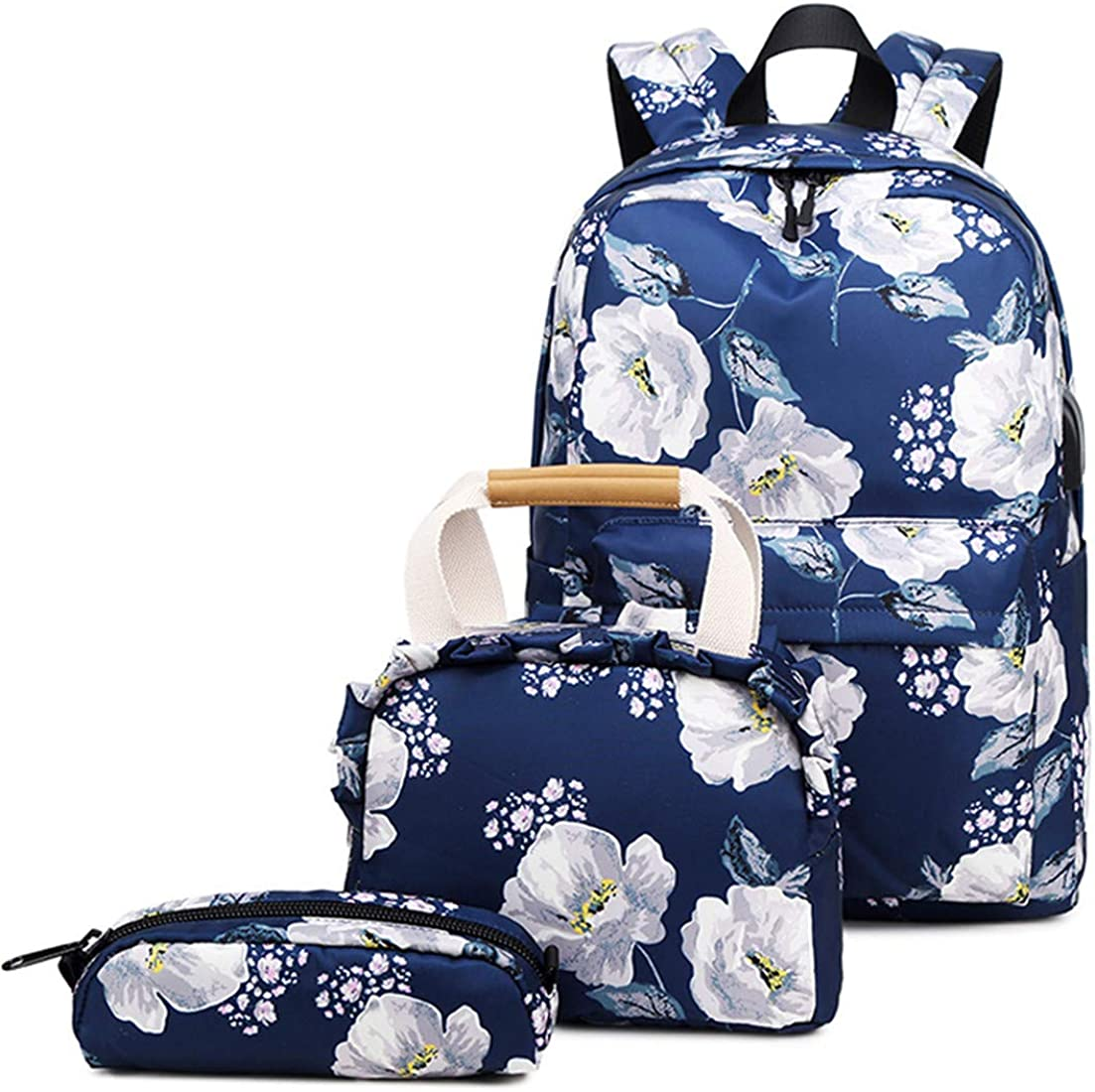 Backpack Set Flower School Bookbag Laptop Bag Daypack Lunch Tote Bag Clutch Purse Pencil Case USB 3 in 1