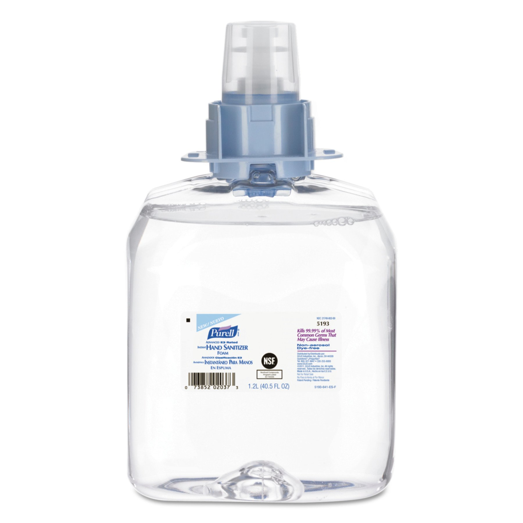 PURELL FMX-12 Advanced Hand Sanitizer E3 Rated Foam, Fragrance Free, 1200 mL Sanitizer Refill for PURELL FMX-12 Push-Style Dispenser (Case of 3) – 5193-03