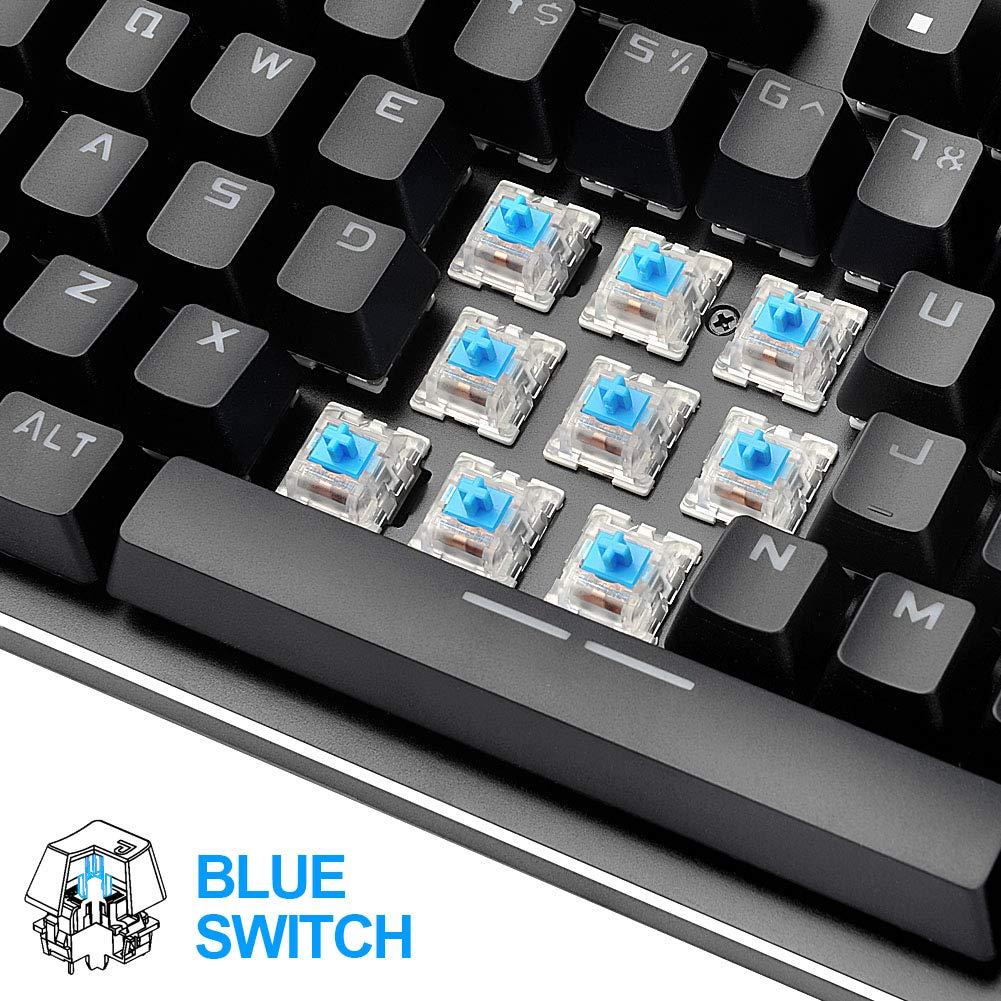 Hcman Teclado mecánico US Layout Mechanical Keyboard Blue Switches,Teclado para Juegos 21 LED Backlit: Amazon.es: Informática