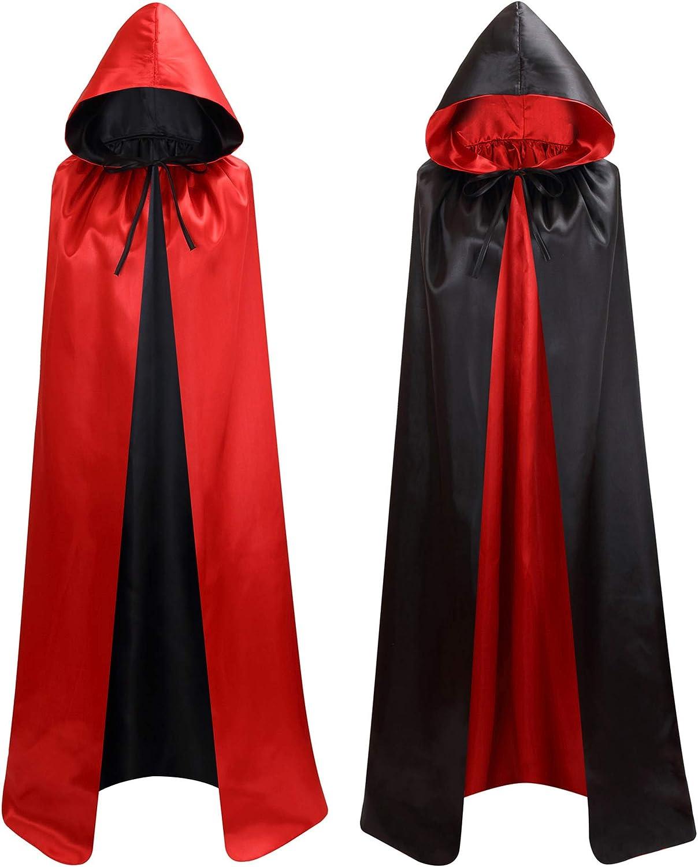 Makroyl Mantello Unisex Reversibile con Cappuccio per Halloween Strega vampiri Natale Cosplay