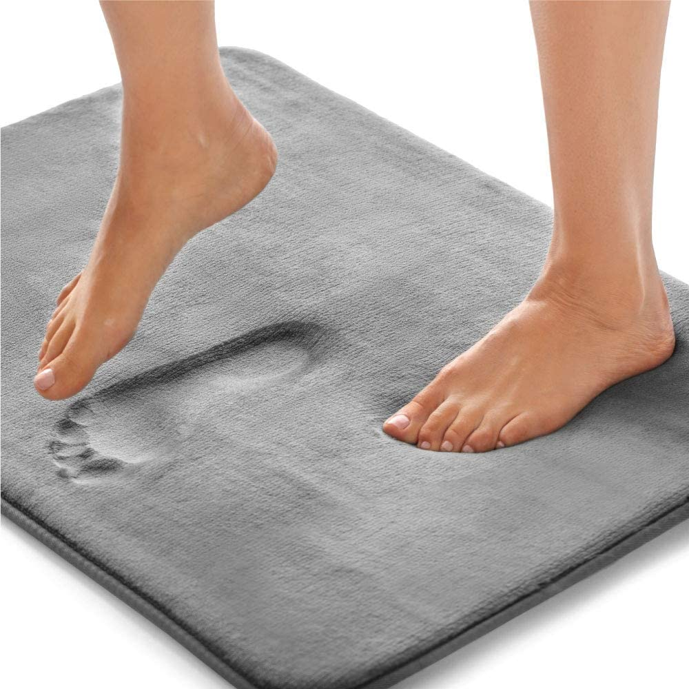 Gorilla Grip Original Thick Memory Foam Bath Rug, 60x24, Cushioned, Soft Floor Mats, Absorbent Premium Bathroom Mat Rugs, Machine Washable, Luxury Plush Comfortable Carpet for Bath Room, Graphite