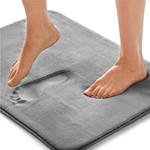 Gorilla Grip Original Thick Memory Foam Bath Rug, 48x24, Cushioned, Soft Floor Mats, Absorbent Premium Bathroom Mat Rugs, Machine Wash and Dry, Luxury Plush Comfortable Carpet for Bath Room, Graphite