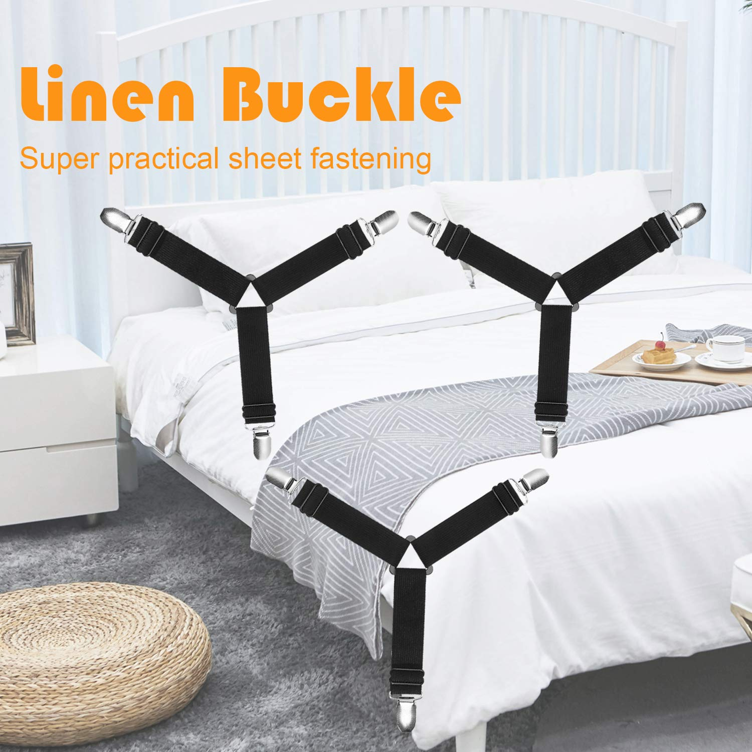 Pack of 4 Sheet Straps Suspenders with Heavy Duty Grippers for Crib,Bedding Sheets Sofa Cushion Mattress Covers Haozcl Bed Sheet Holder Straps Adjustable Elastic Sheet Clips