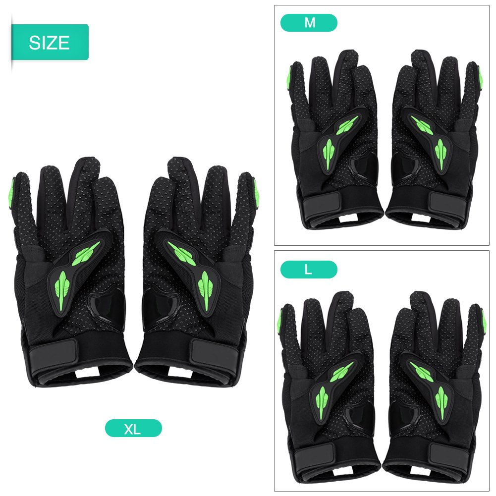 Acouto Motorcycle Adults Cycling Breathable Gloves Full Finger Guard Protective Armor Motorbike Motocross M-Green A