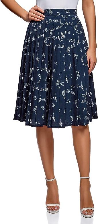 oodji Collection Mujer Falda Midi con Pliegues, Azul, ES 36 / XS ...