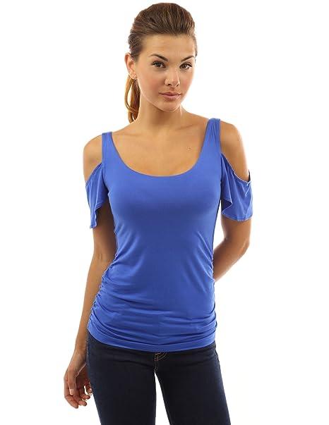 PattyBoutik Mujer camiseta cuello cortado el aleteo de la manga de la blusa (azul medio