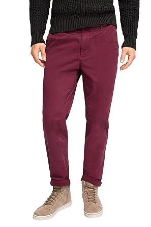 Esprit mit Gürtel - Pantalon - Chino - Homme - Rouge (Bordeaux Red 600) 36aa9dbeb73