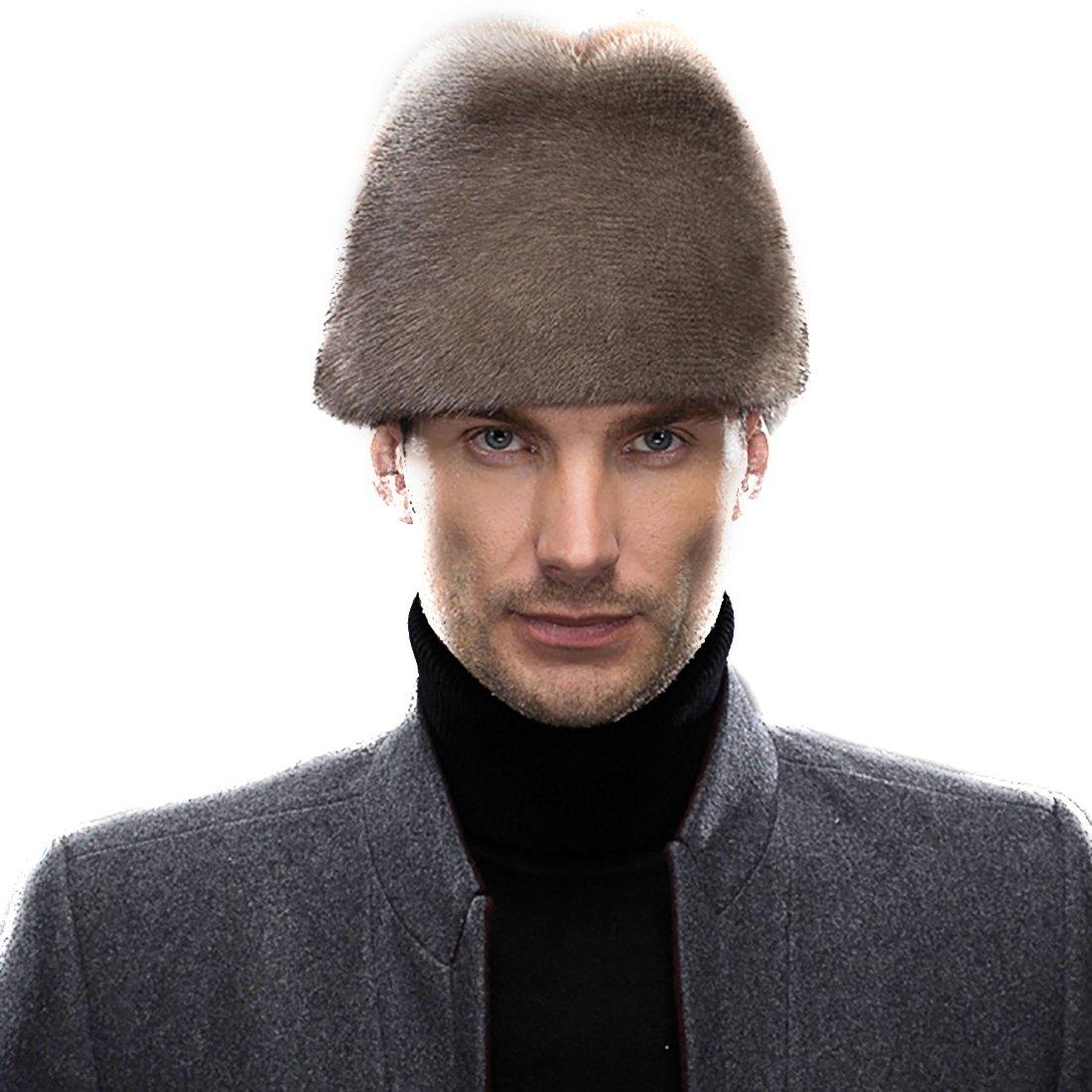 URSFUR Men's Mink Full Fur Russian Cossack Hat Fedora Cap