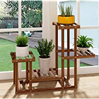 House of Quirk Wood Plant Stand Indoor Outdoor 3 Tier Vertical Carbonized Multiple Planter Holder Flower Ladder Stair Shelf Garden Balcony Patio Corner Pot Display Storage Rack