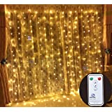 Outop 304LED 9.8FT Remote Controller Window Curtain Lights LED Christmas Lights 8 Modes with UL Certified Use for Wedding Lights for Home, Party(Warm White)