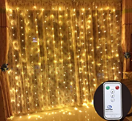 outop 304led 98ft remote controller window curtain lights led christmas lights 8 modes with ul