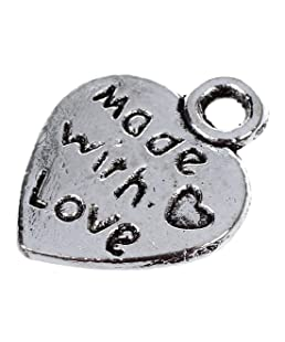 SODIAL (R)50 BRELOQUES PENDENTIFS COEUR Made With Love ARGENT 9MM