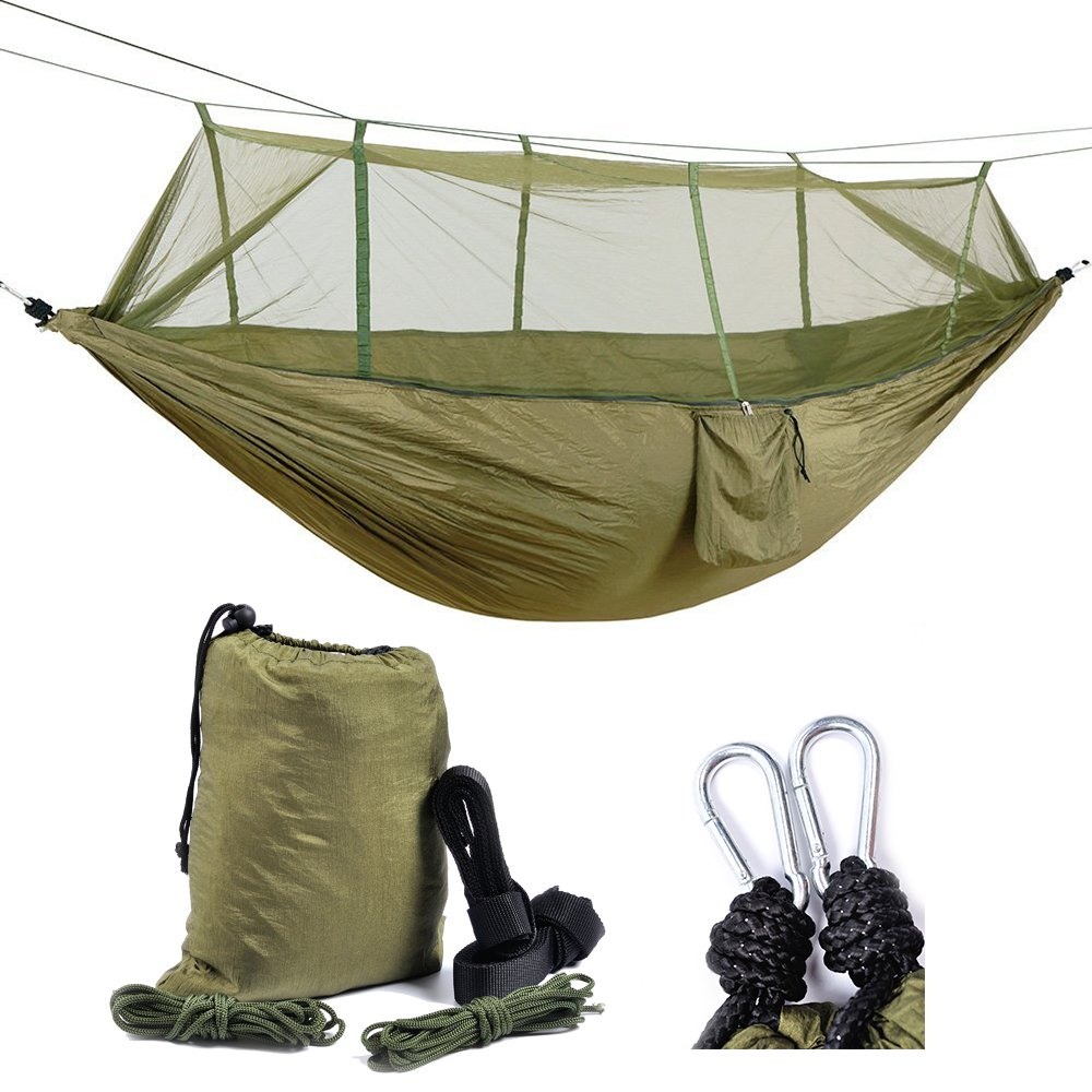 Healthmmo Kelenpro Lightweight Camping Hammock With Mosquito Net Lightweight Parachute Nylon Hammock 440lb load bearing Hammock for Outdoor Garden Camping Hiking Backpacking Travel SY SM014