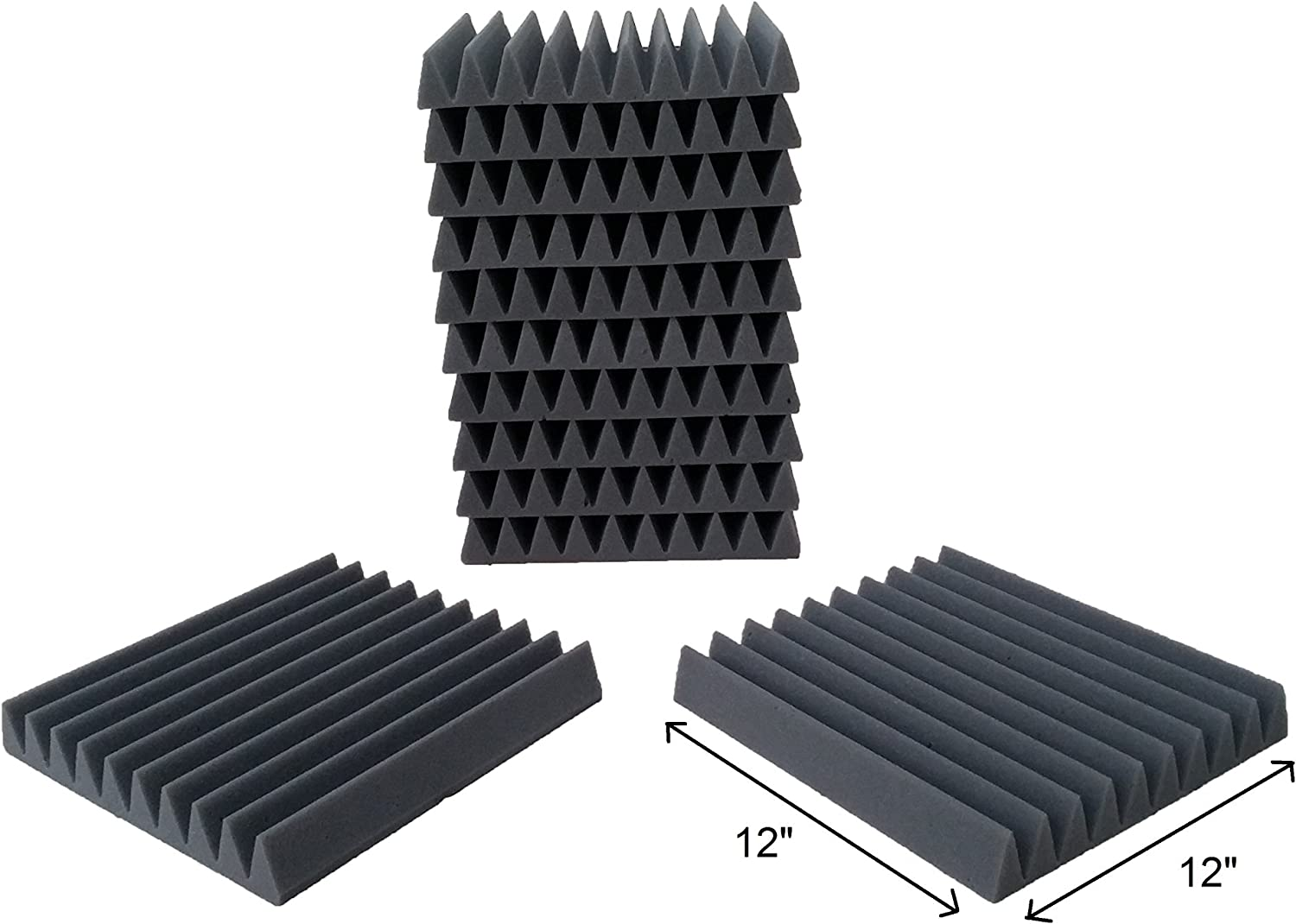 12 Pack- Acoustic Sound Foam Wedge Tiles Panels (12 Square Feet) 12