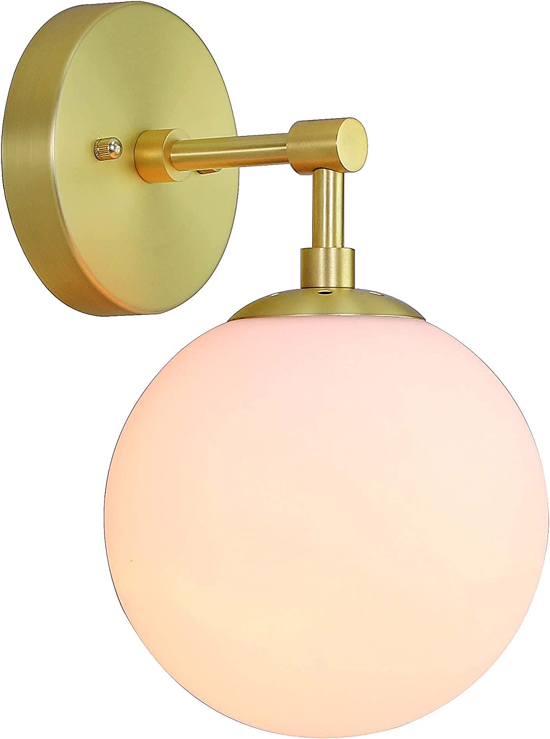 Wall Light 1 Light Vintage Wall Sconce with White Globe Glass in Satin Brass, Bathroom Vanity Lighting Suitable for Living Room & Hallway XiNBEi-Lighting XB-W1211-SB