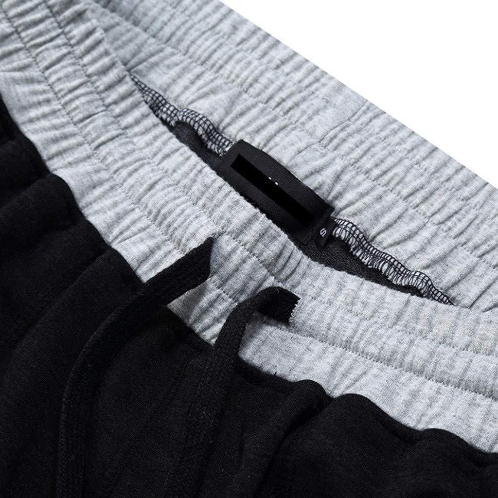 GREFER Men's Short Pants Casual Sports Elasticated Waist Shorts Black by GREFER (Image #4)