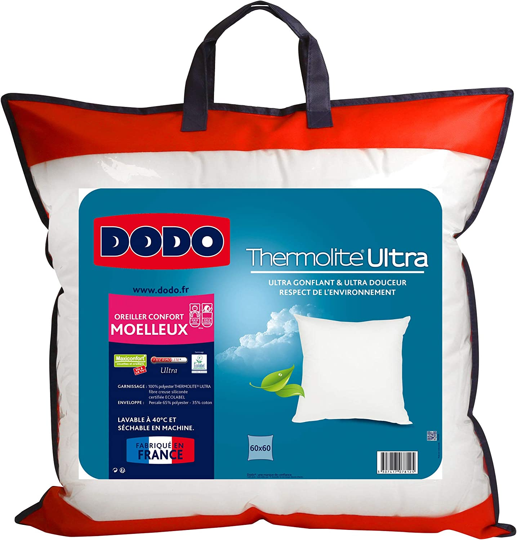Dodo Maxiconfort Ultra Oreiller Uni Classique Blanc 50 x 70 cm Synth/étique Medium
