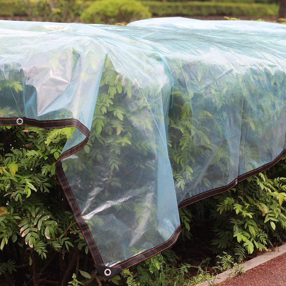 Reinforced Corners with Grommets with Metal Eyelets Waterproof Cover Tarpaulin Clear Multi-Purpose Tarp Rainproof Sunshades Depot Ground Sheet Covers Anti-Tear Weather Proof