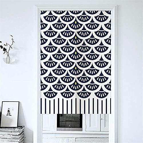 MYRU Japanese Noren Doorway Curtain Tapestry Black Fish Scale,33.5 Inches x 59 Inches