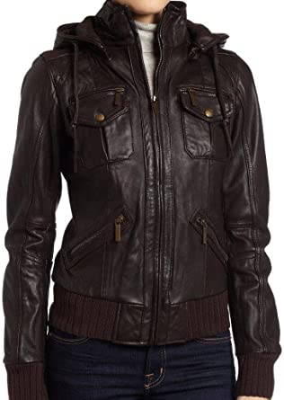Brown Women/'s Lambskin Detachable Hoodie Leather Bomber Jacket