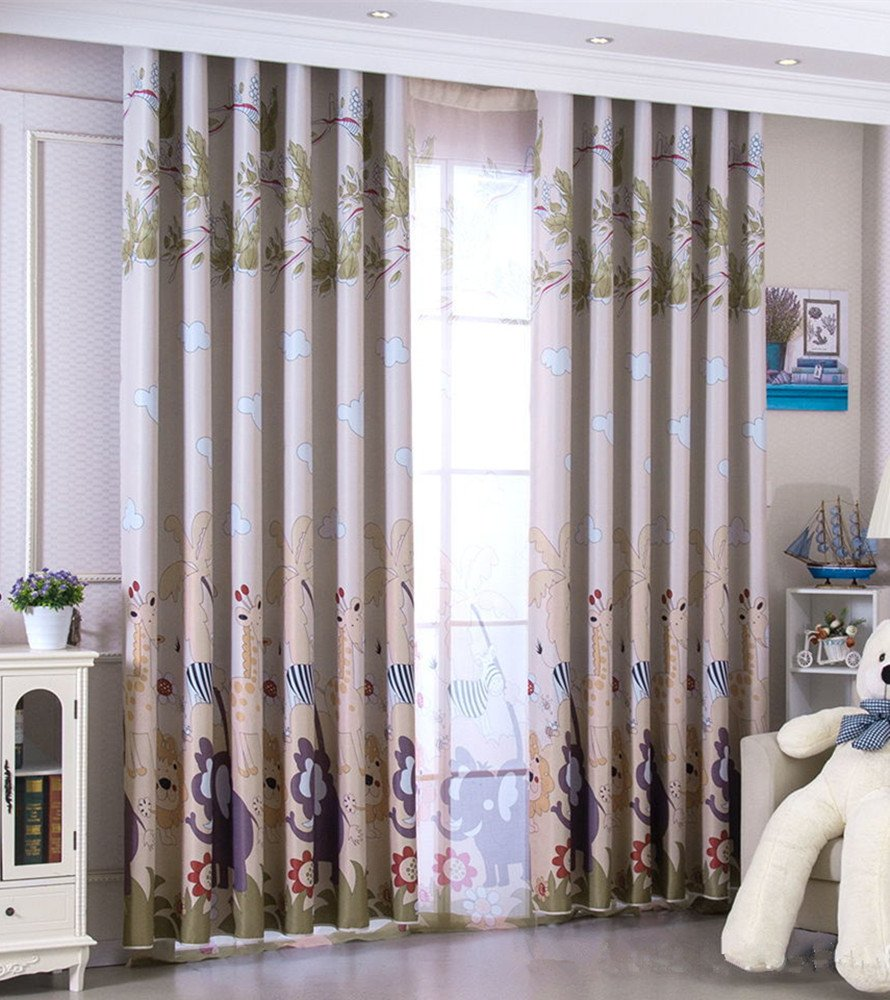 AiFish Cartoon Animal Lion Elephant Giraffe Zebra Zoo Printed Room Darkening Grommet Blackout Curtains Kids Room Window Drapes and Curtains for Kids Bedroom Playroom 1 Panel Brown W39 x L63 inch