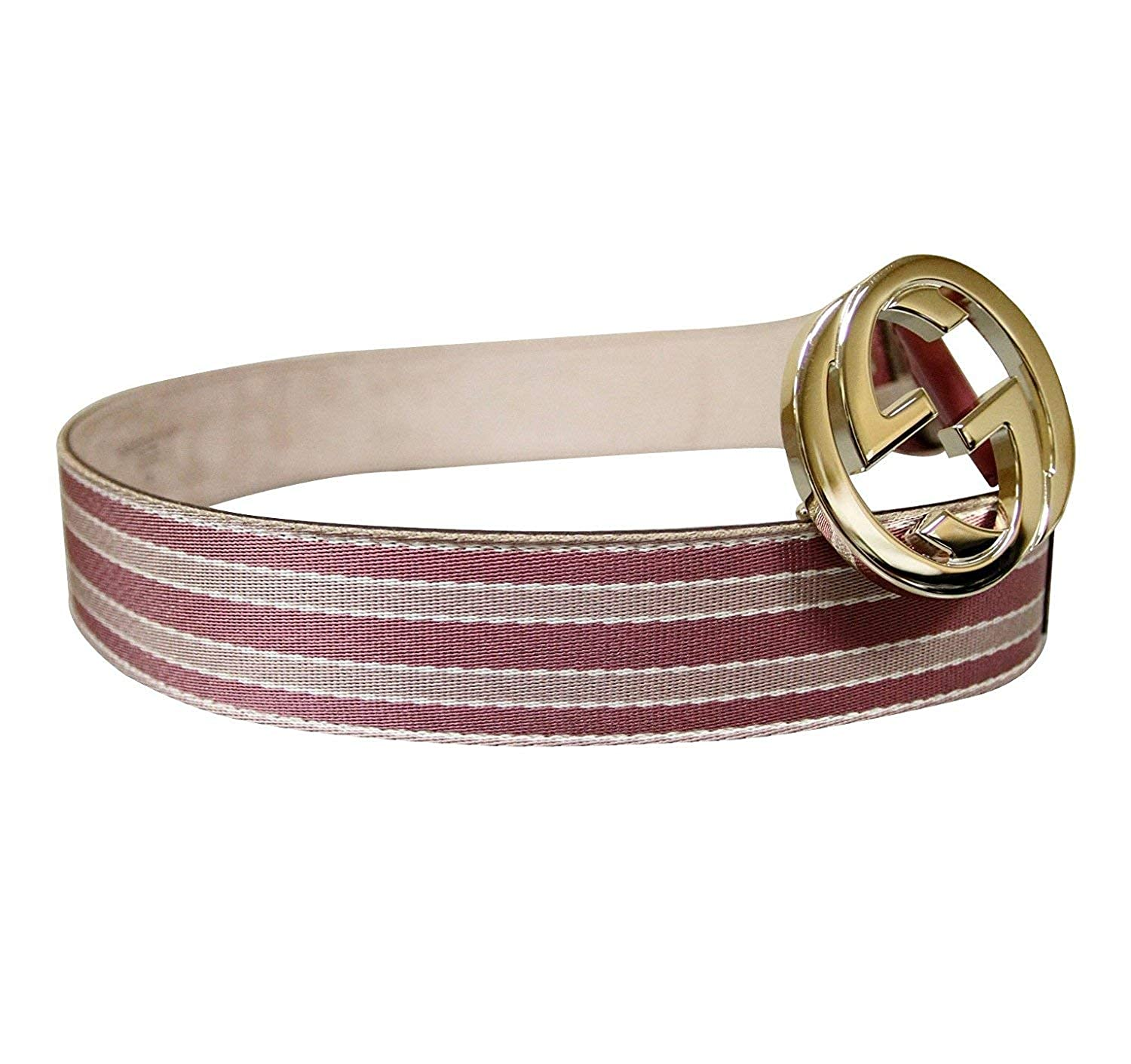 0402997d756 Amazon.com  Gucci Women s Pink Canvas and Leather Interlocking G Buckle Web  Belt 114876 6861 (85 34)  Clothing