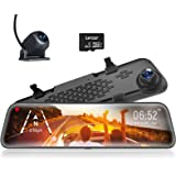 """WOLFBOX 12"""" Mirror Dash Cam Backup Camera,1296P Full HD Smart Rearview Mirror for Cars & Trucks, Sony IMX335 Front and Rear V"""