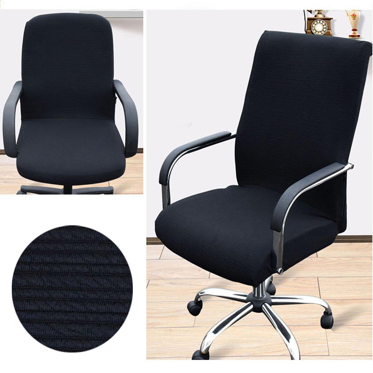 KING DO WAY Polyester-baumwolle Bezug für Bürostuhl - Husse für Bürodrehstuhl,Mode Einfachheit Stuhlhusse Stretch-Stuhlbezug,Sitz Cover,Removable,waschbar,S Größe Schwarz